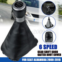 For Seat Alhambra 2000-2010 Real Italian Leather Gear Gaiter Cover