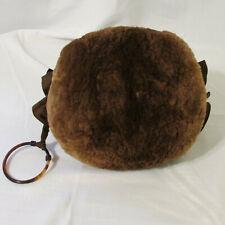 Vtg 1940s Woman's Mouton Fur Satin Lined Muff Faux Tortoise Shell Wrist Ring