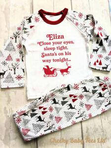 Personalised Santa's on his way Christmas Pyjamas up to 9-10yrs,Xmas PJs