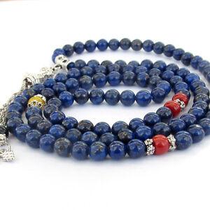 108 Lapis Lazuli Gemstone Tibet Buddhist Prayer Beads Mala Necklace