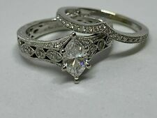 14k White Gold Finish 3.00 Ct Marquise Cut Diamond Engagement Wedding Ring Set