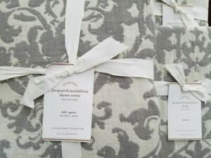 Pottery Barn Jacquard Medallion FULL/QUEEN Duvet and 2 Standard Shams ~ GRAY