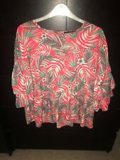New Women's Primark Atmosphere Red & Green Flower Print Peplum Top - 12