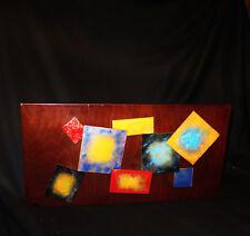 7258:Kunstwerk aus Emailleplatten auf Holz,70er Jahre,Platten sind beweglich,RAR
