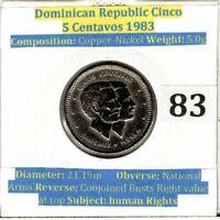 1983 Dominican Republic Cinco 5 Centavos Coin (VF condition)