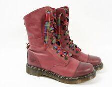 DOC DR MARTENS Aimilie Cherry Red Leather Mid Calf Plaid Combat Boots Women US 9