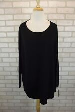 NEW Style & Co Womens Boat Neck Sweater Top Plus 1X Knit Batwing Dolman Black