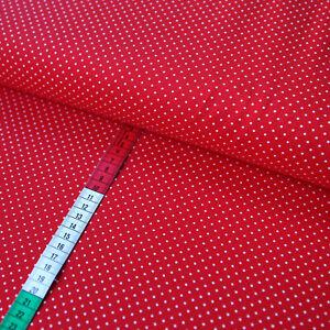 Baumwollstoff große Tupfen rot weiß Modestoff Preis=0,5m