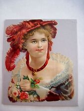 Gorgeous Victorian Die-Cut of Woman w/ Red Feathered Hat & Lace Trimmed Dress *