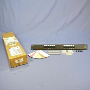 """New Leviton 19"""" Cat 5 12-Port Type T568A Wiring Patch Panel Rack Mount 59485-A12"""