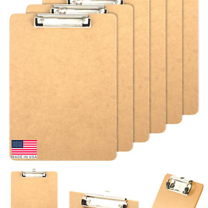 Officemate Letter Size Wood Clipboards, Low Profile Clip, 6 Pack Clipboard, B...