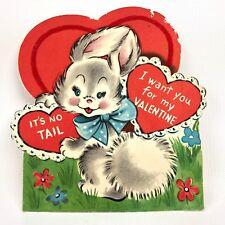 Vtg 40s 50s Valentines Card Bunny Rabbit Tails Ephemera Greeting Die Cut Flocked