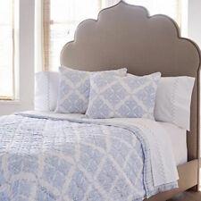 $595+tax John Robshaw Textiles Lita King Printed Cotton Quilt Blue White Batik
