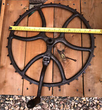 """Antique 16 3/4"""" Cast Iron Axel Wheel Pulley Industrial USA Steampunk Project"""