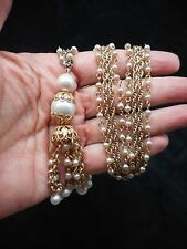 "Authentic Vintage-1950's CORO Gold Tone & Faux Pearl Tassel 32"" Necklace"