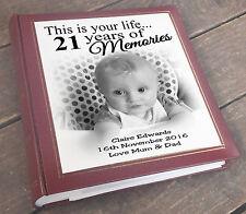 "21st Birthday memory present, Large personalised photo album 6x4"" x 200 photos."