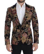 NWT $10,000 DOLCE & GABBANA Black Velvet Floral Slim Fit Blazer Jacket IT44/US34