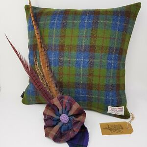 Country Tweed Check Green Blue Harris Tweed handmade cushion cover all sizes