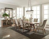 NEW 7PC FORMAL RUSTIC WEATHERED WOOD DINING TABLE CREAM TUFTED LINEN CHAIRS SET