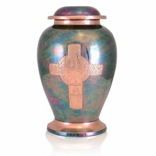 Large/Adult 220 Cubic Inches Gleaming Cross Raku Brass Cremation Urn for Ashes