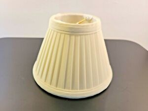"""Small Clip On Lamp Shade White Cream Pleated Fabric 6""""x4""""x3"""""""