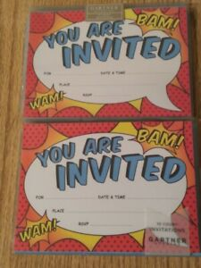2 Packages Gartner Invitations = SUPER HERO COMIC BOOK Theme BAM! WAM! 20 Ct.