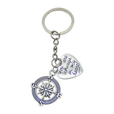 Pack of 2 Silver Metal Compass and Engraved Heart Shaped Charm Key Chain Keyring