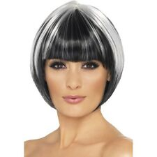 Womens Quirky Bob Wig Black & White Short Blunt Fringe Fancy Dress Beauty Model