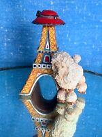 FRENCH POODLE Standard White Eiffel Tower France Ornament Figurine 4/3 ❤️sj3j
