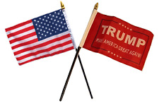 "USA American & President Trump Red Flags 4""x6"" Desk Set Table Black Base"