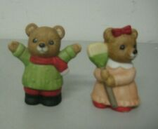 Vintage Homco Boy and Girl Bear Figurines #5101 Set of 2