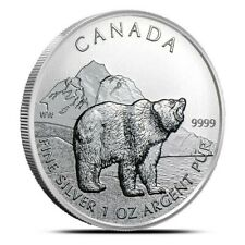Tube of 25 - 2011 Canada $5 Fine Silver Grizzly - 1 oz. fine .9999