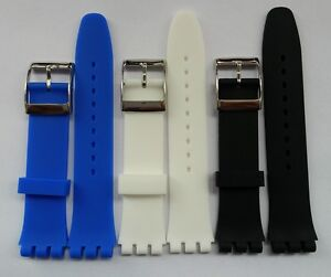 17mm or 19mm High QTY rubber silicon strap bracelet band FITS Swatch Originals