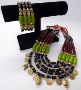 CHICO'S Multi-Strand & Color Tribal Dangle Bib Necklace & Bracelet 2pc EUC!