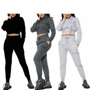 Womens Tracksuit Set Cropped Hoodie Long Sleeve Crop Top Zip Hoodie Workout Set