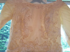 Vintage 1968 Beige Chantilly Lace Beaded Satin Wedding Gown New York City