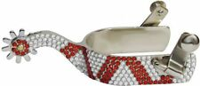 LADIES FANCY WESTERN SADDLE HORSE SHOW SPURS WITH RED CRYSTAL RHINESTONES BLING!
