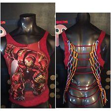 DIY Cut Up VTG Marvel Avengers Iron Man T Shirt L XL Comic Book Movie Tony Stark
