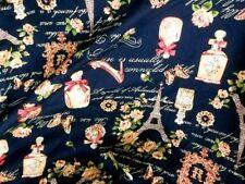 Quilt Cotton Fabric France eiffel tower Paris Fashion Blue Fat Quarter Half Yard