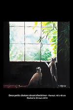 Tableau original 2 chatons rêvant d'extérieur 40 x 40 cm