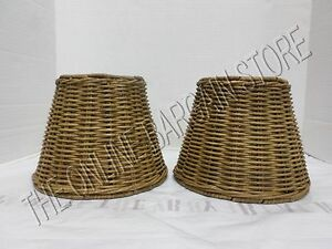 2 Pottery Barn Woven Wicker Kitchen Bath Track Light Lamp sconce SHADES nautical