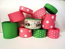 GROSGRAIN PINK TRACTOR RIBBON LOT FOR MAKING BOWS 10 YDS 2B-qP