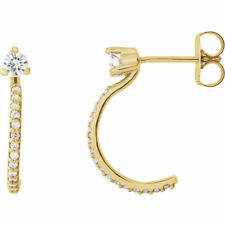 Forever One™ Moissanite & 1/6 CTW Diamond Earrings In 14K Yellow Gold