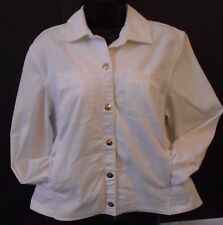 Koret Womens Jacket Large White Snap Front Pockets Cotton Spandex Silver Buttons