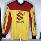 Vintage SUZUKI Mesh Motocross Jersey Med 1980s Red Yellow MX Dirt Bike MX Shirt