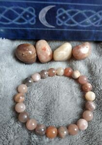 moonstone and sunstone crystal healing 8mm bead bracelet peach moonstone