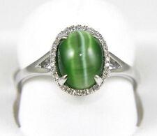 Oval Green Cat Eye Chrysoberyl & Diamond Halo Ring 14k White Gold 1.80Ct