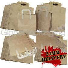 """500 LARGE KRAFT PAPER CARRIER SOS BAGS 10x5.5x12.5"""" BROWN TAKEAWAY FOOD PARTIES"""
