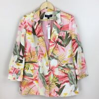 NWT RD & koko Colorful Tropical Floral Print Linen Blend Blazer Jacket Size M