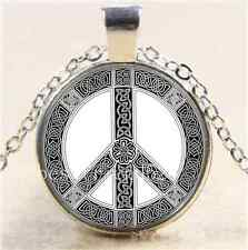 Celtic Peace Symbol Photo Cabochon Glass Tibet Silver Chain Pendant Necklace